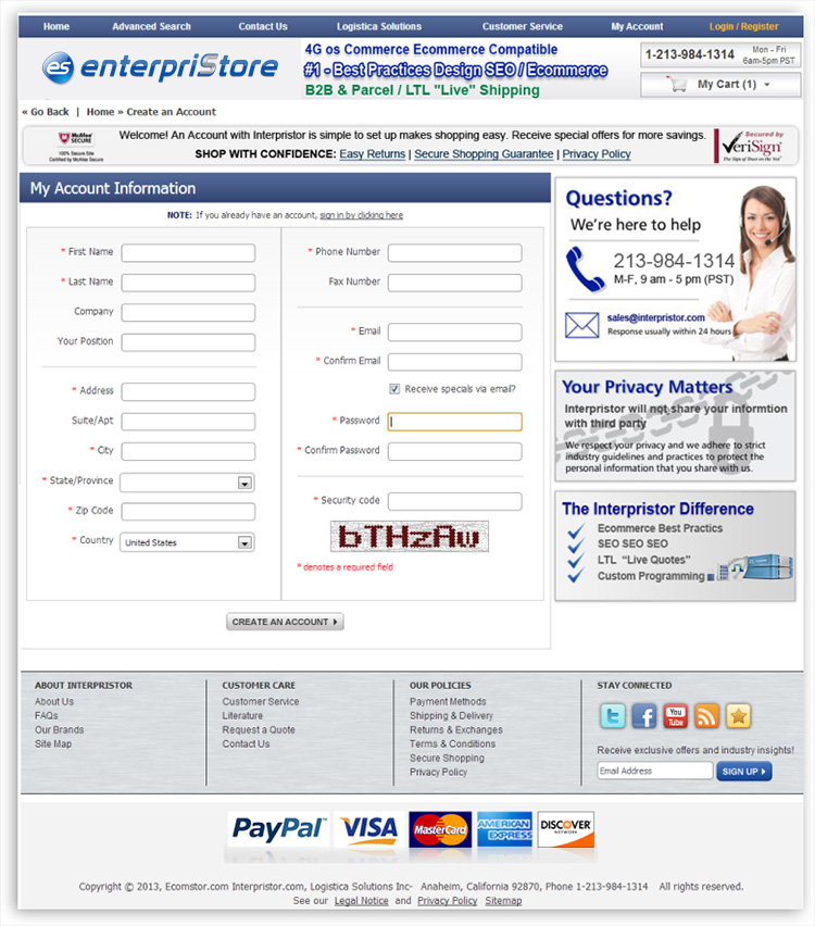 Checkout Process Account Creation Account Creation