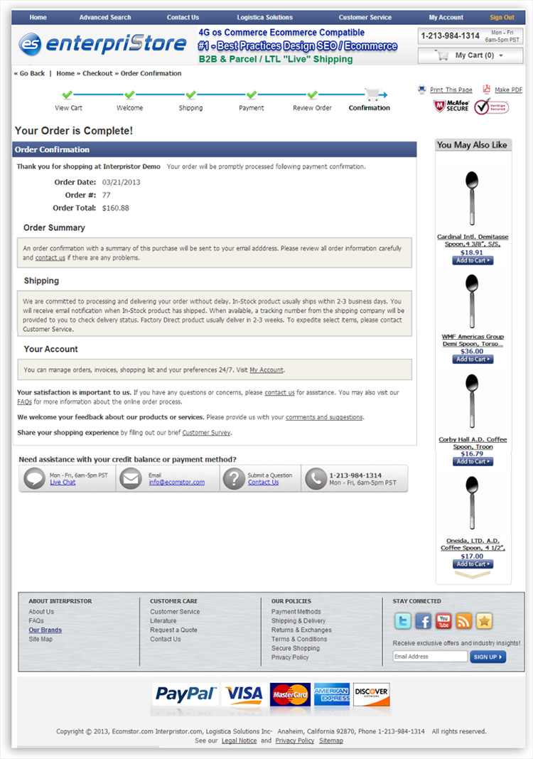 Checkout Process Confirmation Page Confirmation