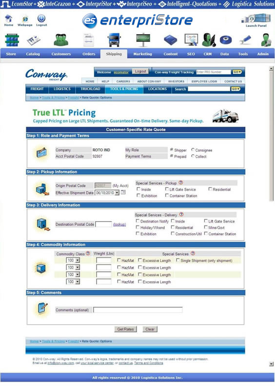 Con way Freight LTL Shipping enterpriStore Quotation Tracking Con way Shipping