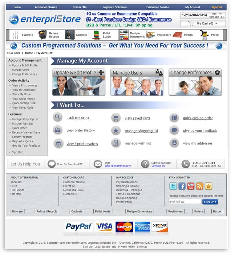 My AccountsCustomer Management Portal My Account Layout