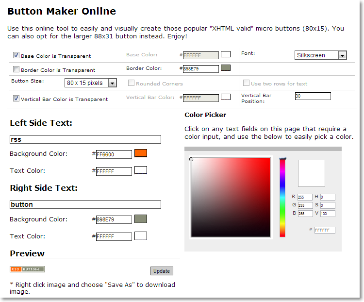button maker Site Template Config