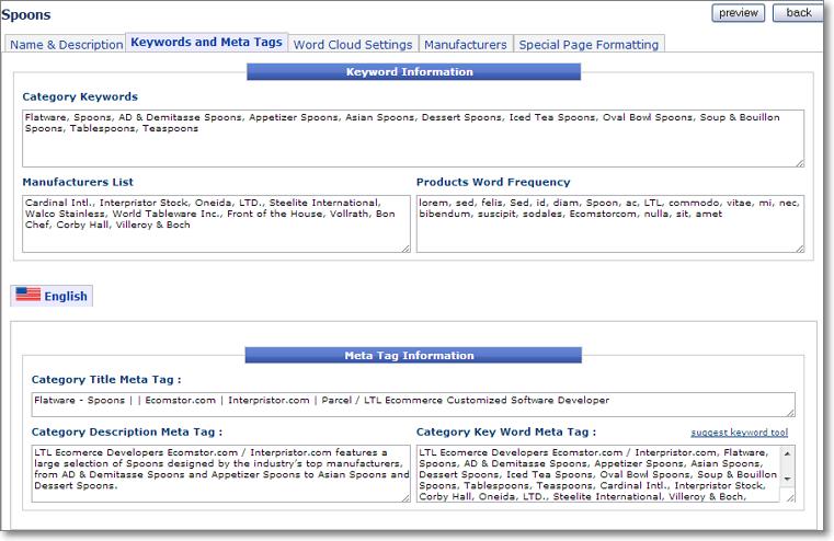 category catalog keywords meta tags Catalog Setup Tabs