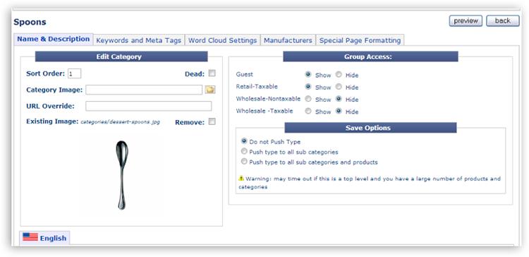 category tab01 Catalog Setup Tabs