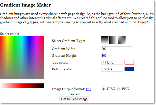 gradient maker Site Template Config