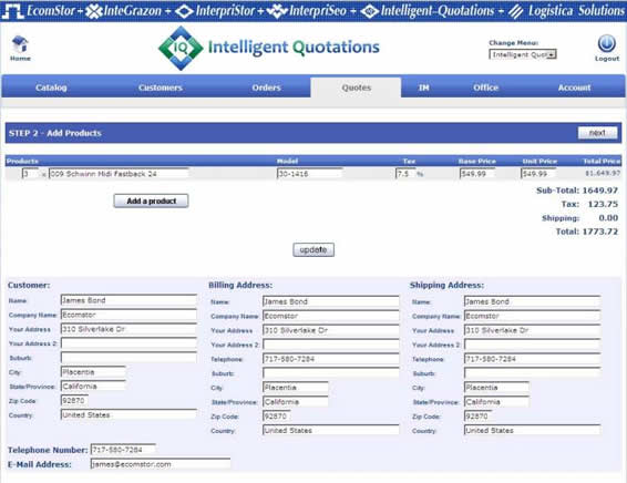 inteiilgent quotations create order 031 Distributor Login