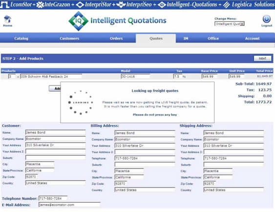 inteiilgent quotations create order 041 Distributor Login