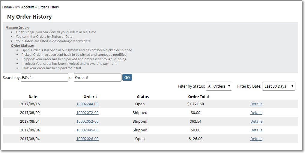 my order history Infor SX. e ERP Ecommerce