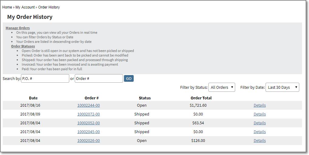my order history Infor SX.e ERP Ecommerce