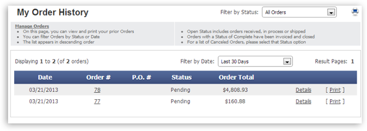 mya order history View Invoices