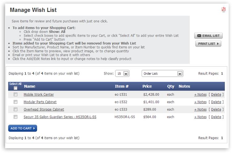 mya wish list Manage Wish Lists