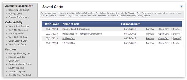 myaccounts saved carts Manage Saved Carts