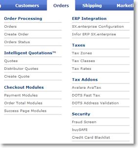 orders menu layout mini Orders