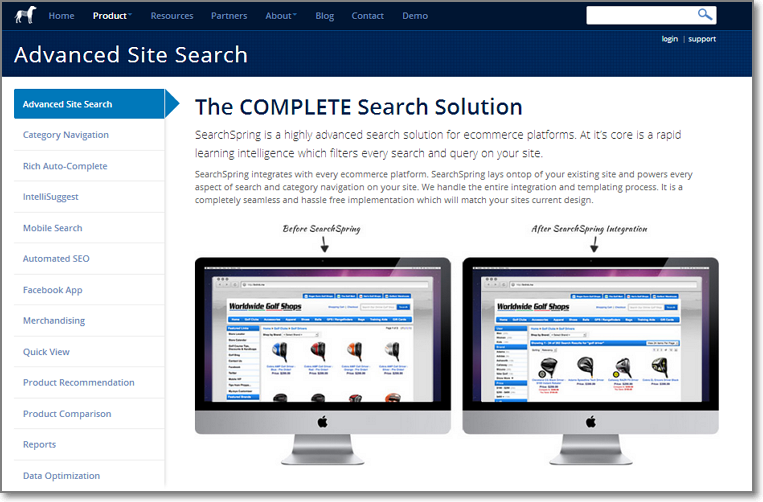 search spring features Search Spring Navigation
