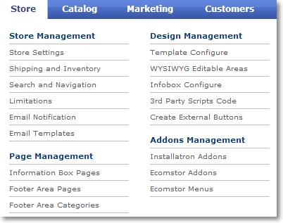 store menu tab new1 Site / Store