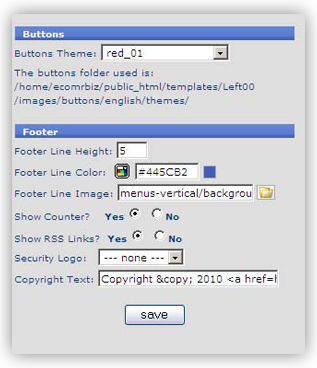 template 10 buttons footer1 Template Configuration