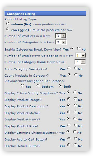 template 11 category listing Site Template Config