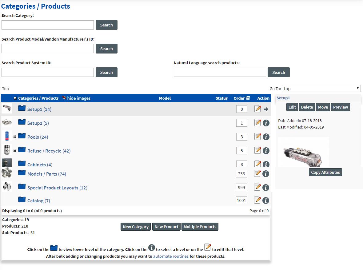 Catalog Setup Tabs Categories Setup