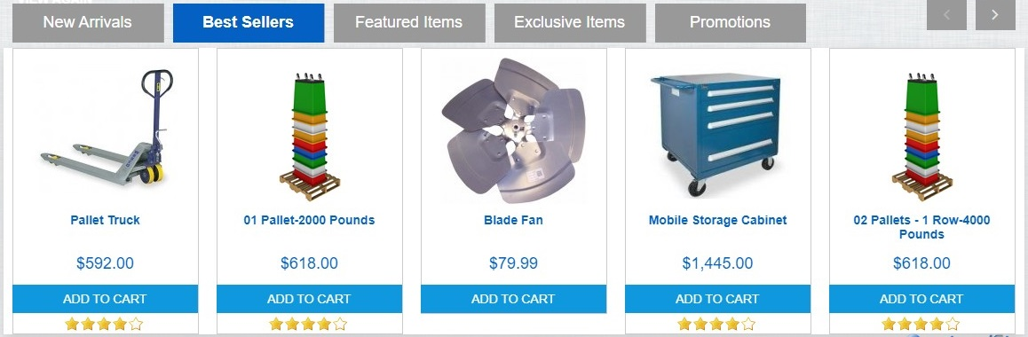 Items Placed In Featured 1 Products Tab Scroller
