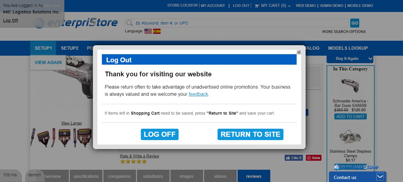 Logout Screen Allow Customer to Save Cart Before Logging Out Login