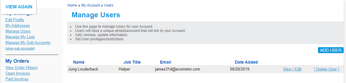 Manage Users Account Management