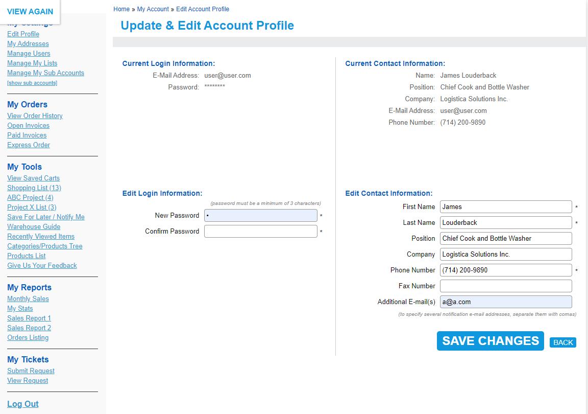 My Accounts – Account Management Account Management