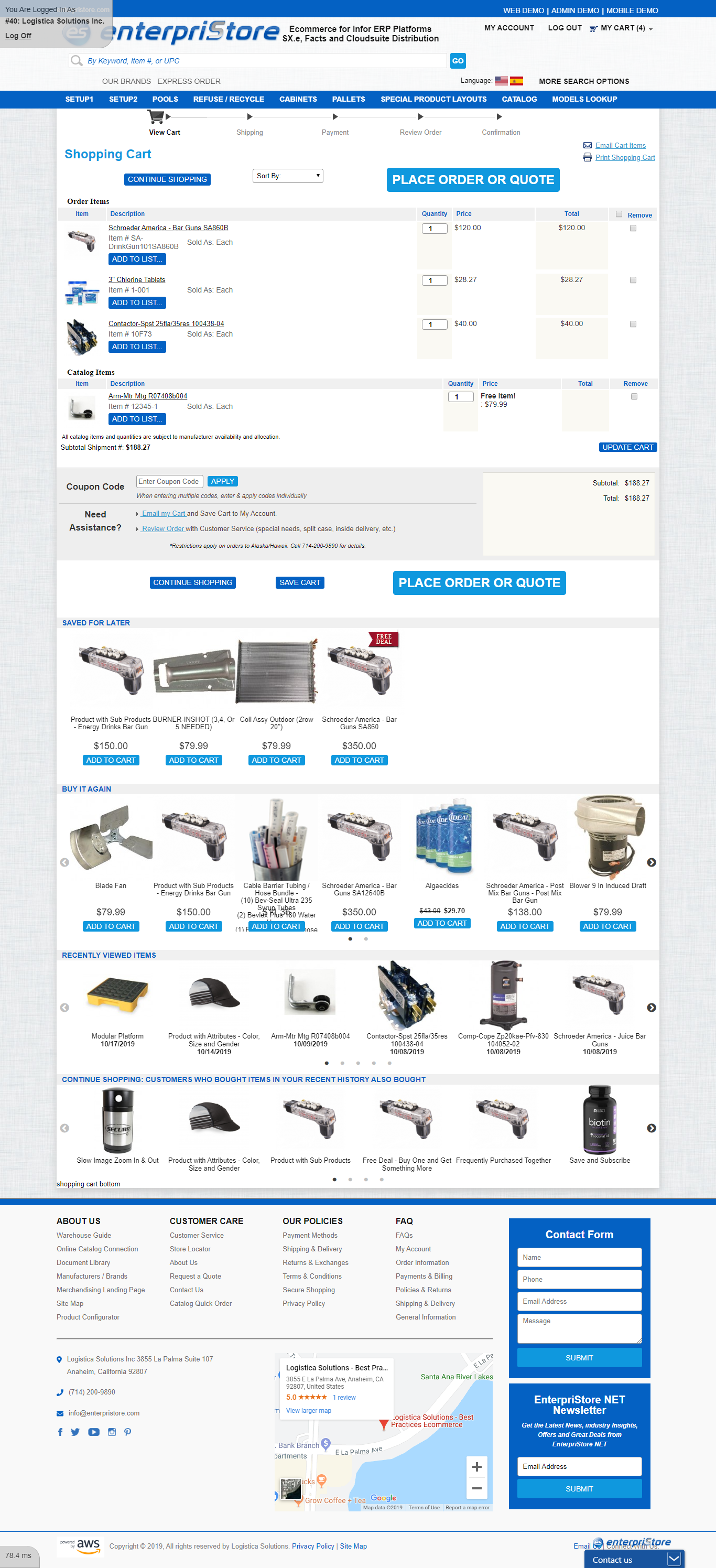 Shopping Cart Layout Major Sections