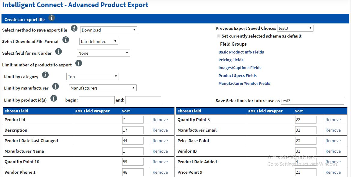 advanced product export 1 Intelligent Connect