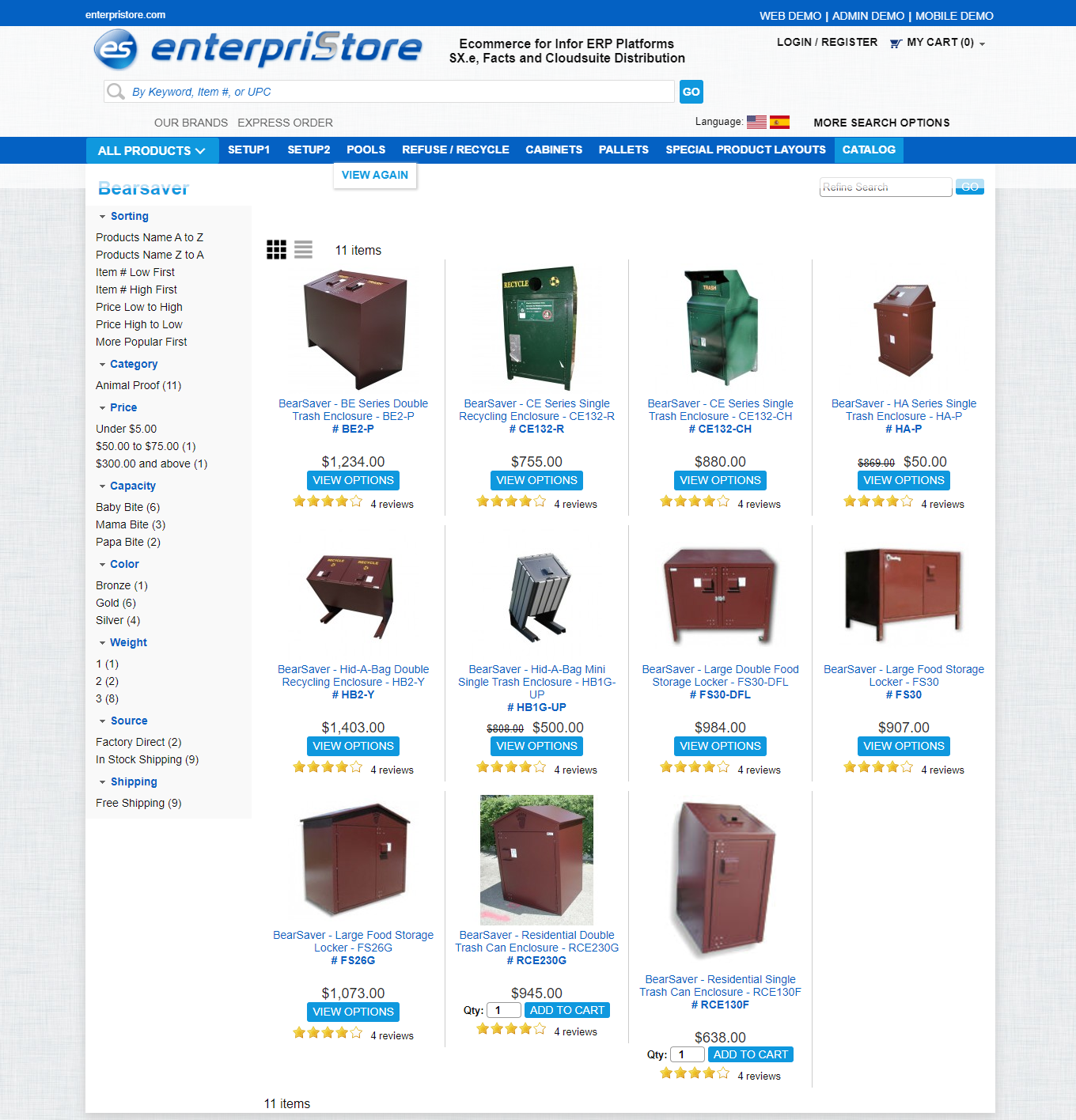 product menu Manufacturers Page