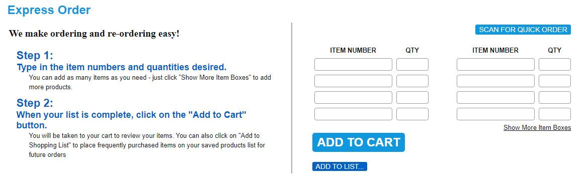 quick orders Catalog Quick Order