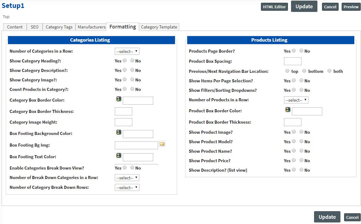 formatting Categories Setup