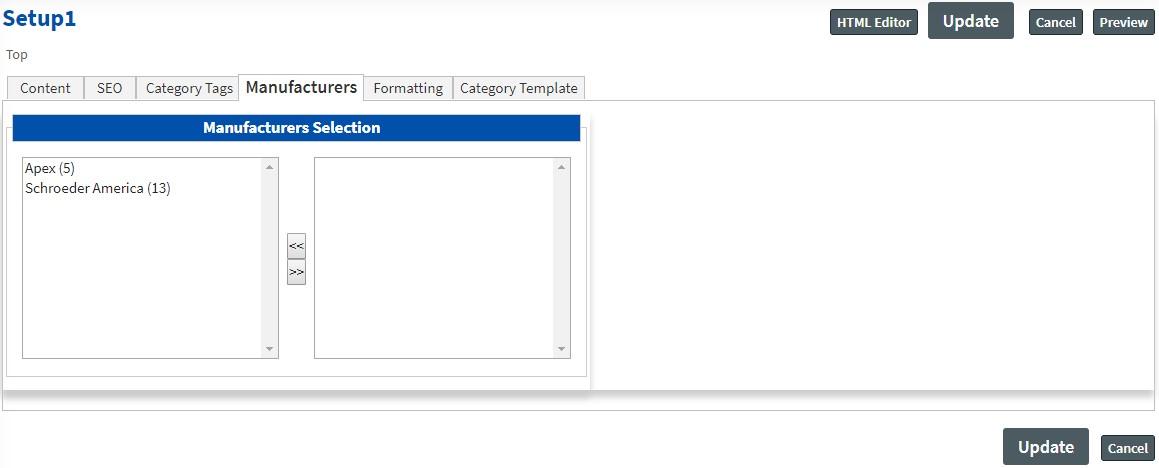 manufacture Categories Setup